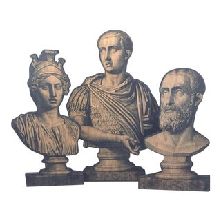Neoclassical Wooden Cut-Out Roman Busts - Set of 3