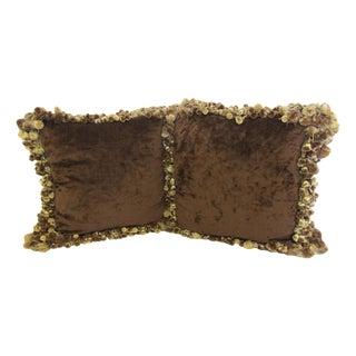 Ebanista Chocolate Velvet Tassel Trim Throw Pillows