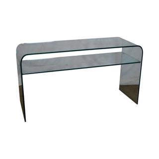 Mid-Century Modern Curved Glass Console Table