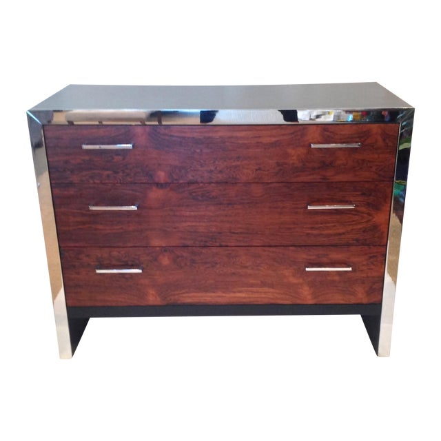 Milo Baughman-Style Rosewood & Chrome Dresser - Image 1 of 10