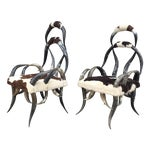 Image of Vintage Horn Cowhide Armchairs - A Pair