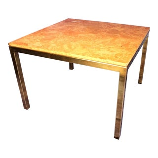 Milo Baughman Style Burled Wood & Brass Square Dining Table