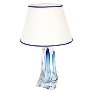 Val St Lambert Light Blue Table Lamp