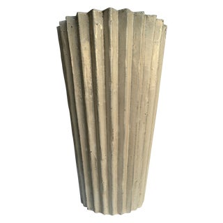 Tall Geometric Glazed Pottery Planter
