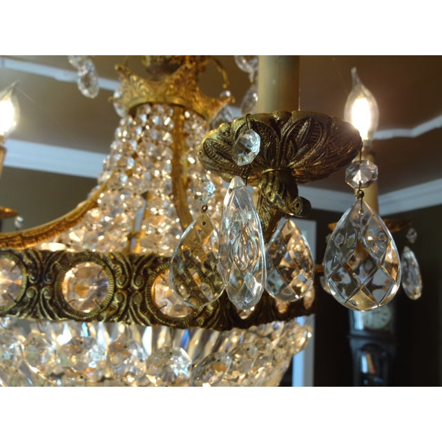French Crystal Empire Style Chandelier - Image 4 of 8