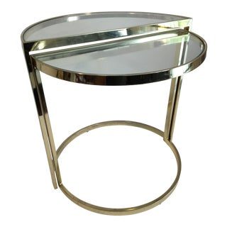 Vintage Petite Brass Nesting Demilune Side Tables- Set of 2