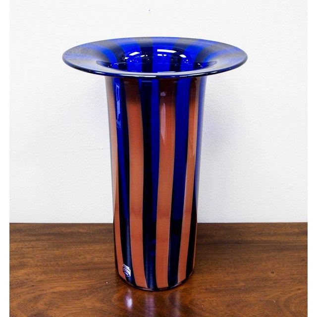 Cenedese Vintage Vetri Murano Glass Striped Vase - Image 2 of 7