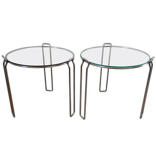 Mid-Century Chrome & Glass Tables - A Pair
