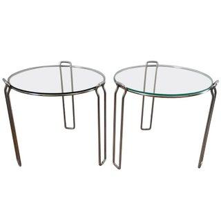 Mid-Century Chrome & Glass Tables - A Pair