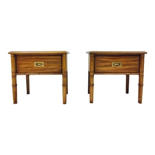 Campaign Style Faux Bamboo Bedside Tables - a Pair