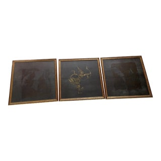 Vintage Thai Temple Rubbings - Set of 3