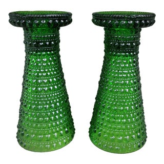 Scandinavian Green Hobbs Glass Vases - A Pair