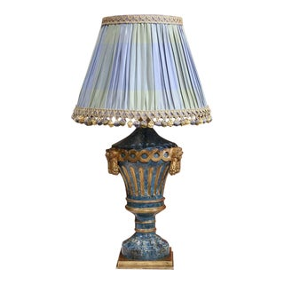 19th Century Italian Painted Wooden Lamp with Custom Silk Shades