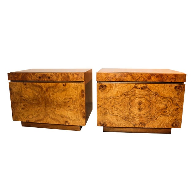 Image of Milo Baughman For Lane Olive Burlwood Nightstands - A Pair