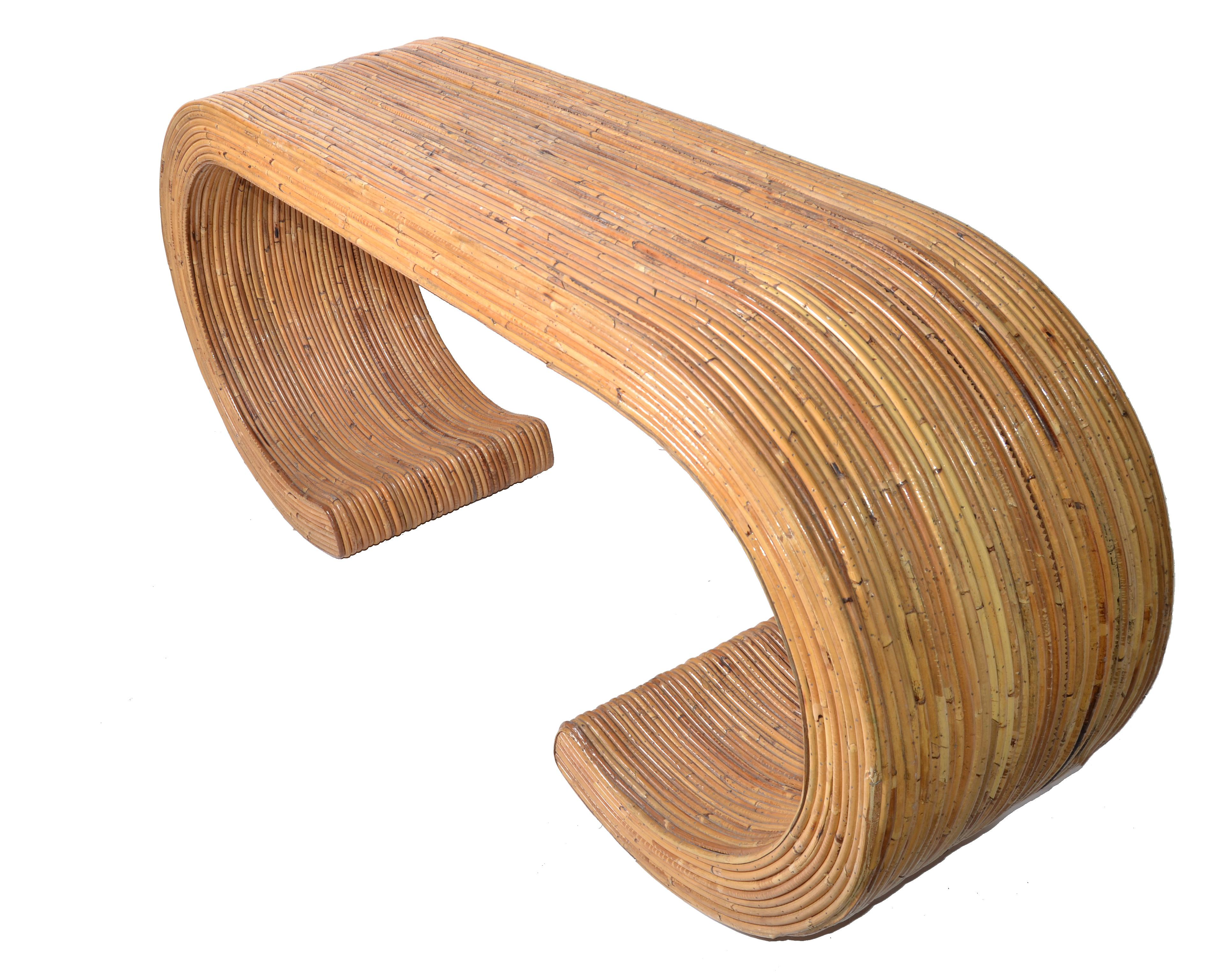 Lovely Mid Century Caned Bamboo Console Table   Image 5 Of 10
