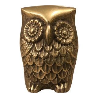 Vintage Brass Owl Paperweight