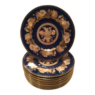 Spode Blue & Gold Floral Service Plates - Set of 12