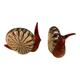 Murano Glass Snail Figurines - A Pair