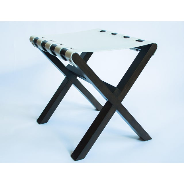 Image of CB2 Wood and Leather Side Table