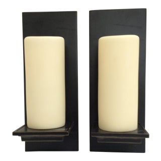 Candle Pillar Bronze Wall Sconces - Pair