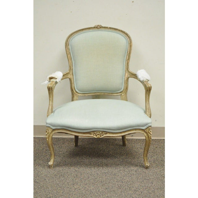 Vintage French Louis XV Style Distress Paint Carved Bergere Chair - Image 3 of 11