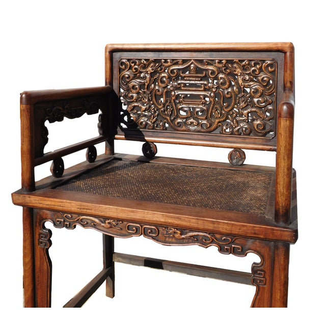 Image of Chinese Vintage Rosewood Carved Chairs & Table Set