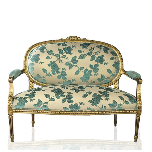 Chenille Upholstered Louis XVI Settee - Image 2 of 4