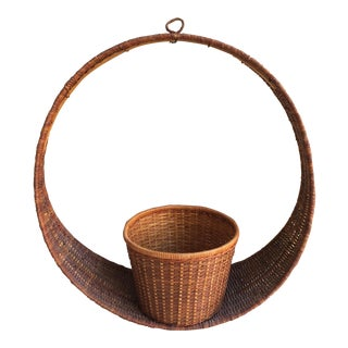 Vintage Round Wicker Planter