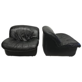Italian Black Leather Chairs - A Pair