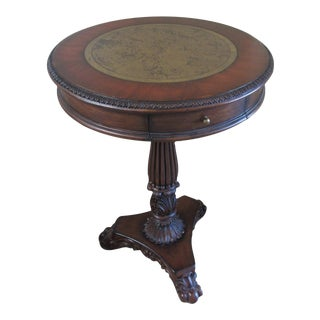Pedestal End Table with Brass Map Inlay