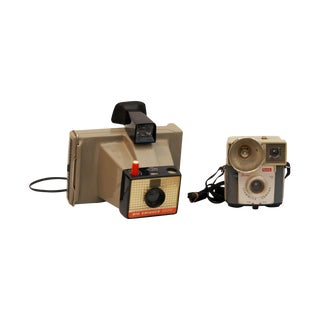Decorative Vintage Tan Cameras - A Pair
