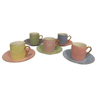 Pastels & Gilt Porcelain Espresso Set - 10 Pieces