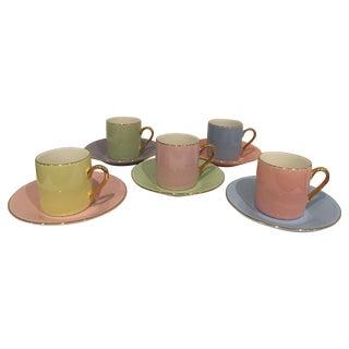 Pastels & Gilt Porcelain Espresso Set - 10 Pieces