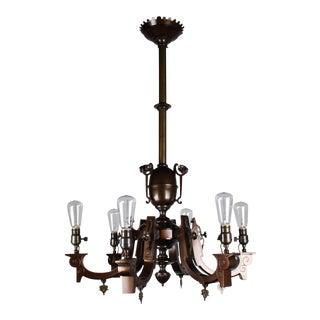 Converted Gas-Electric Renaissance Revival Speltre Light Fixture