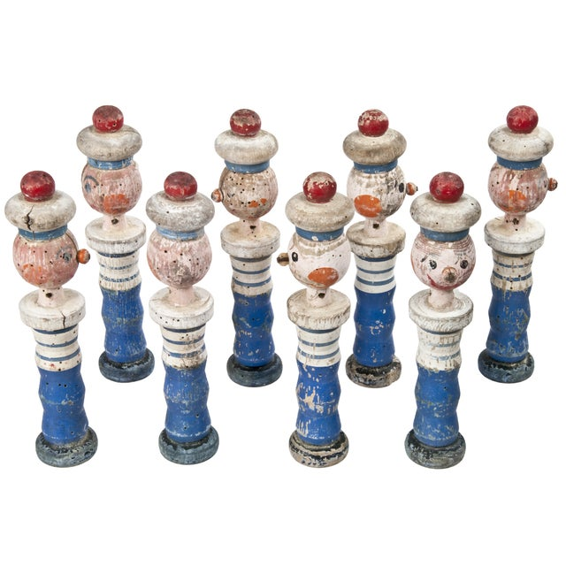 Image of Vintage French Wood Sailor Skittles - Set of 8