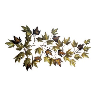 C Jere Style Vintage Brass Maple Leaves Wall Art