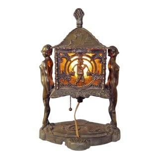 Art Deco Nude Figural Chinoiserie Dragon Lamp