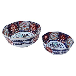 Japanese Hand-Painted Imari Bowls- Set of 2