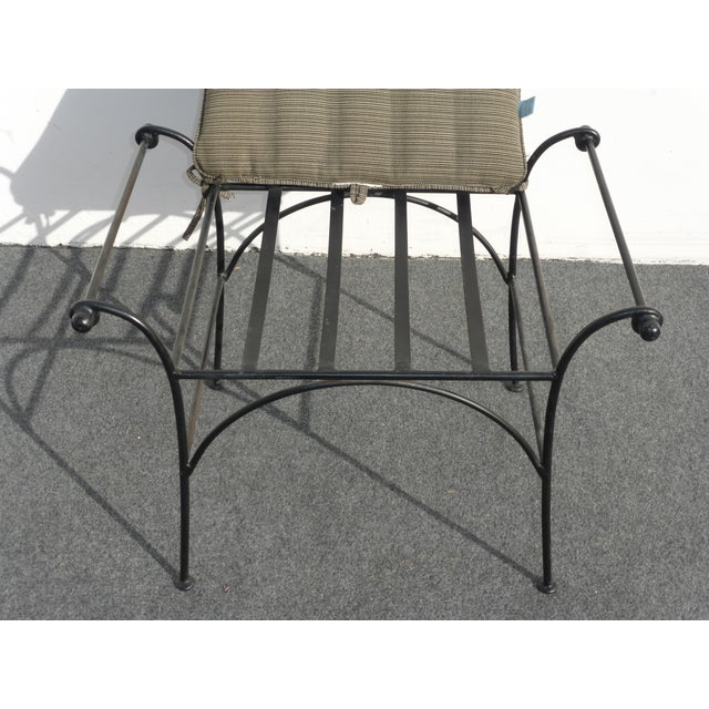 Image of Vintage Wrought Iron Vanity Bench, Flared Arms
