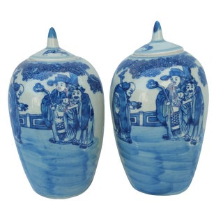 Hand-Decorated Pelanquin Ginger Jars - A Pair