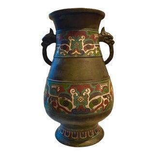 Antique Japanese Bronze Cloisonné Vase