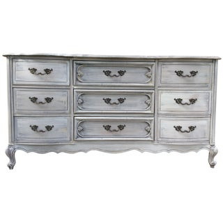 Distressed Nine-Drawer French Provincial Dresser