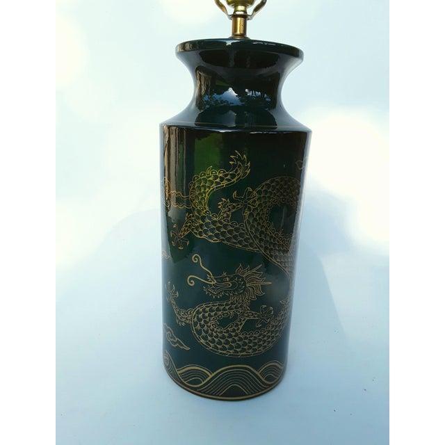 Mid Century Ceramic Dark Teal Green Dragon Lamp
