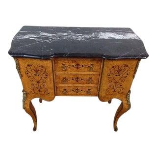 Louis XV Style Burlwood Veneer Marble Top Side Table