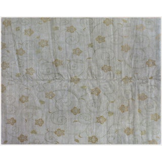 Floral Slate Green Rug - 8' x 10'