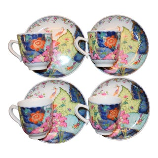 Mottahedeh Tobacco Leaf Deitasse Cups & Saucers - Set of 4