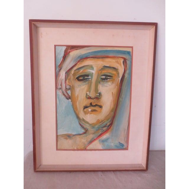 Circa 1970 Modernist Portrait Painting - Image 2 of 7