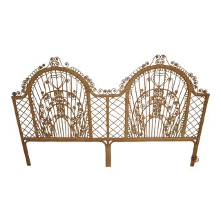 Vintage Bohemian Peacock Wicker King Headboard