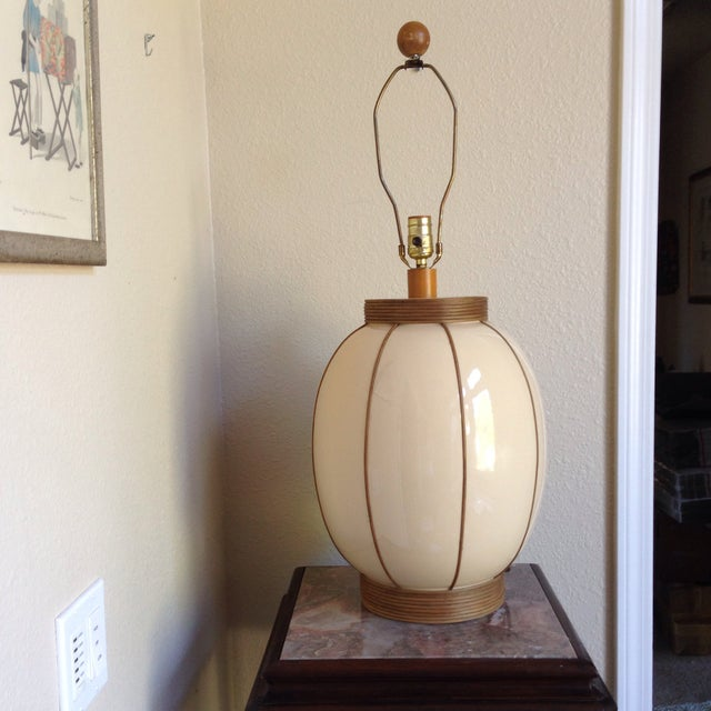 Image of Mid-Century Bamboo Wrapped Porcelain Lamp