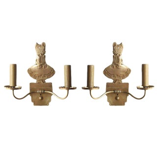 Bronze Electric Candelabra Wall Sconce with Girl in Bonnet, Pair